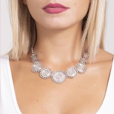 Short necklace with semi-rigid breastplate and Swarovski