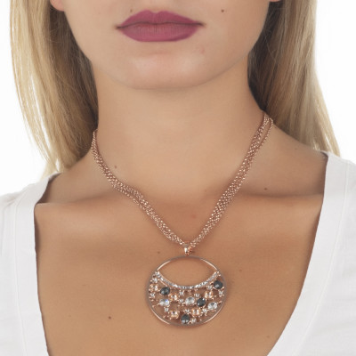 Double necklace wearing pendant with Swarovski crystal, peach and silver night