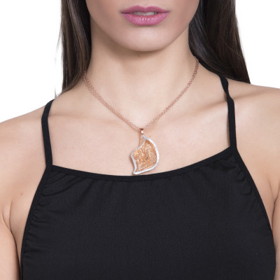Rosy necklace with pendant calla in silver glitter