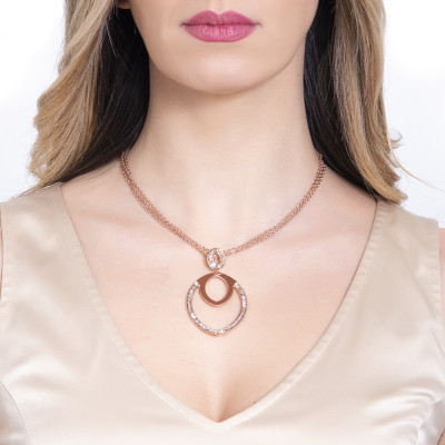 Double rosy necklace with navette and Swarovski pendant