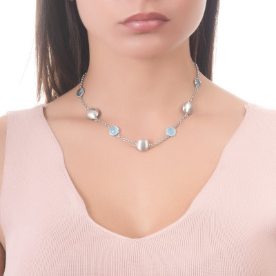 Necklace with sky crystals, light blue milk and scratched elements