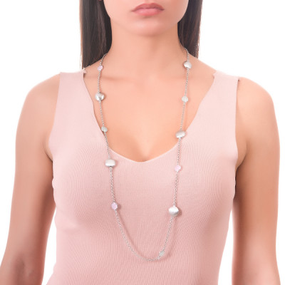 Long necklace with milk green crystals, rose milk quartz color and scratched elements
