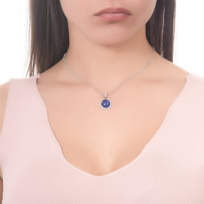 Long necklace with rutilated blue cabochon and zircons