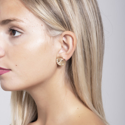 Earrings in the lobe Gold Plated yellow inspiration Maya and Swarovski