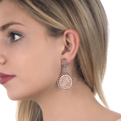 Earrings bicolor with chains and Etruscan pendant with Swarovski