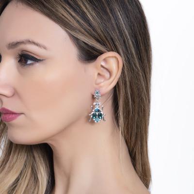 Earrings with pendant beetle