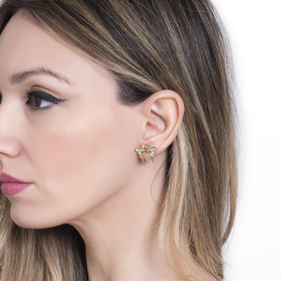 Stud earrings with small bee of Swarovski