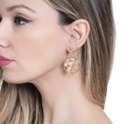 Hoop earrings with bees and beehive decoration