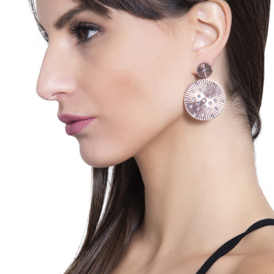 Hanging rose earrings with radial circular decoration and Swarovski