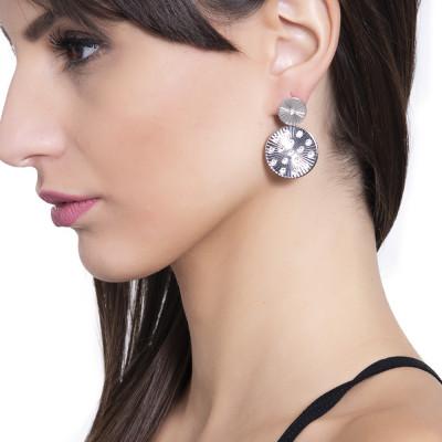 Rhodium-plated earrings with circular ray and Swarovski pendants