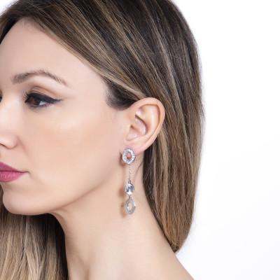 Earrings with pendants and Swarovski