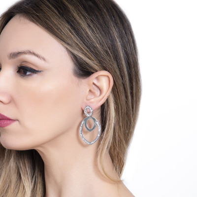 Drop earrings with navette and Swarovski crystals