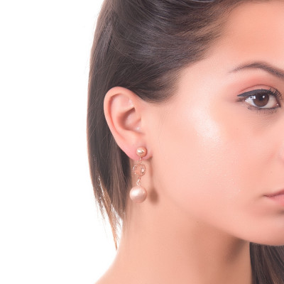 Drop earrings with peach crystal