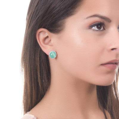 Lobe earrings with cubic zirconia and light green cabochon flecked