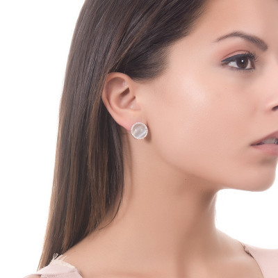 Lobe earrings with cubic zirconia and sky-blue cabochon