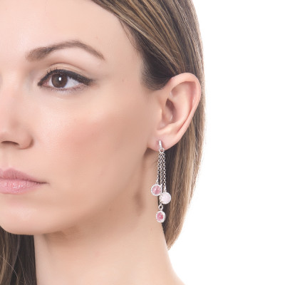 Tufted earrings with cubic zirconia and light pink and fuchsia cabochons
