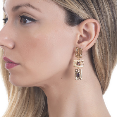Drop earrings with pink Swarovski