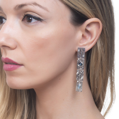 Modular earrings with blue Swarovski