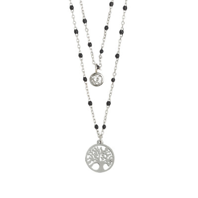Double strand necklace with tree of life and zircon