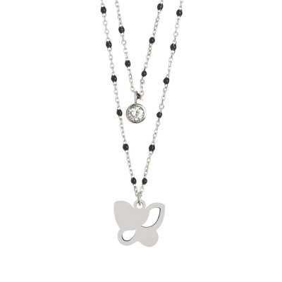 Double strand necklace with butterfly and zircon