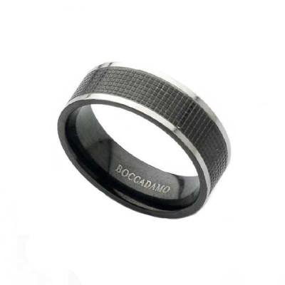 Band ring in steel and black PVD