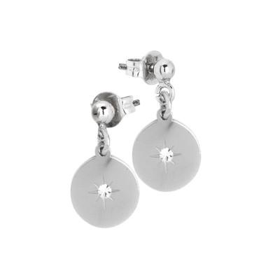 Rhodium-plated earrings with zircon