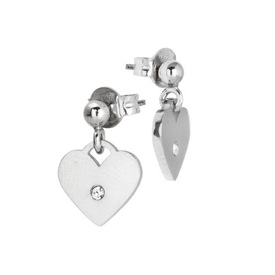 Rhodium-plated earrings with heart and zircon