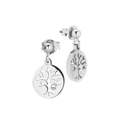 Rhodium-plated earrings with tree of life and zircon