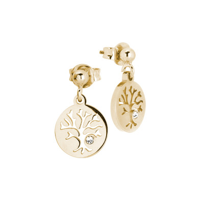 Rosé earrings with tree of life and zircon