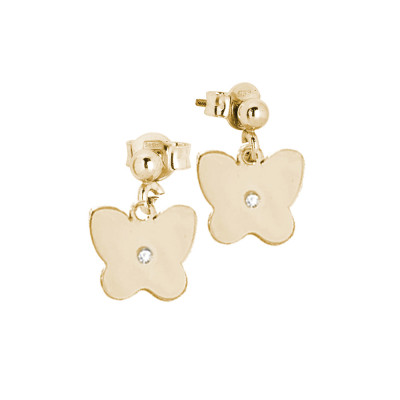 Rosé earrings with butterfly and zircon
