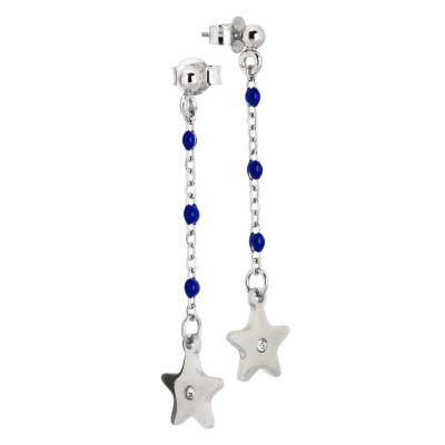 Drop earrings with blue enamel and zircon