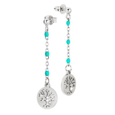 Drop earrings with green water and zircon enamel