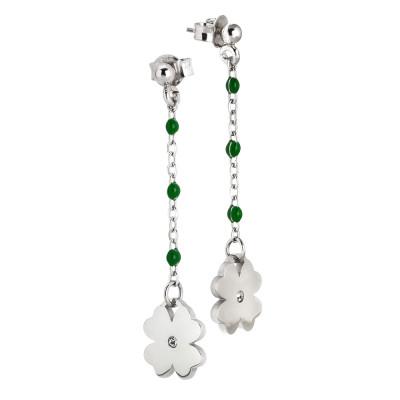 Drop earrings with emerald green enamel and zircon
