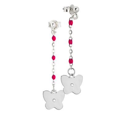Drop earrings with fuchsia enamel and zircon