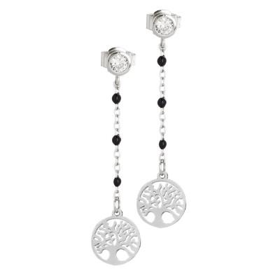 Earrings with zircon and tree of life