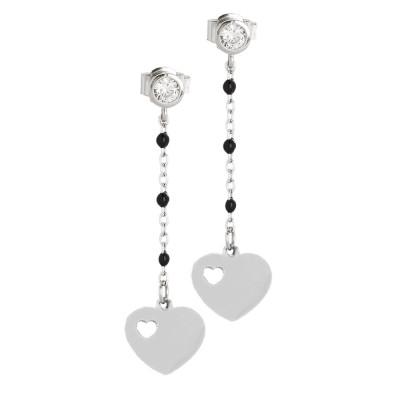 Earrings with zircon and heart