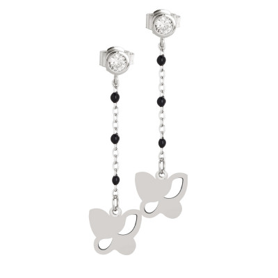 Earrings with zircon and butterfly
