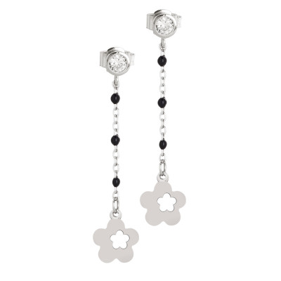 Earrings with zircon and flower