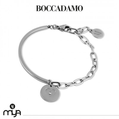 Semi-rigid bracelet with heart and crystal