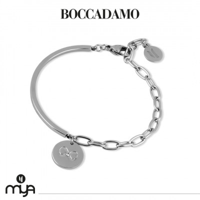 Semi-rigid bracelet with bow and crystal