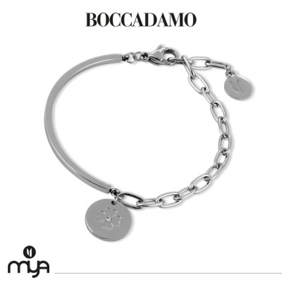 Semi-rigid bracelet with four-leaf clover and crystal