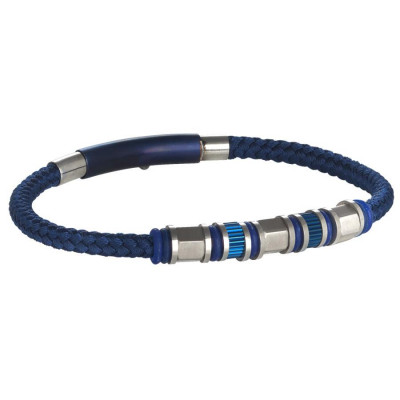 Bracelet in blue leather braided loops in steel and o-ring