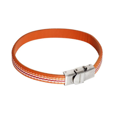 Bracelet in natural skin orange and inserts of braided nylon orange, white and red