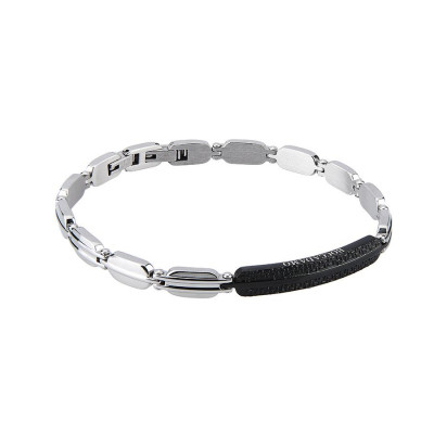 The semirigid Bracelet in steel with central black PVD