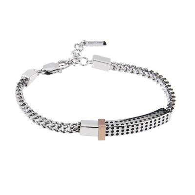 Steel Bracelet with links intertwined and central plate with holes