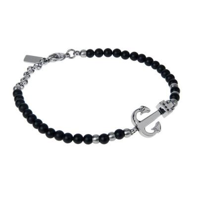 Bracelet with Obsidian Black, still and zircons