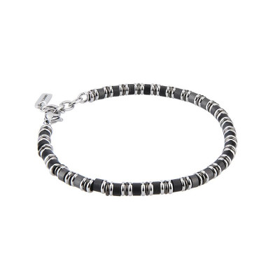 Bracelet with small cubes of obsidian, smooth shirts and central yet