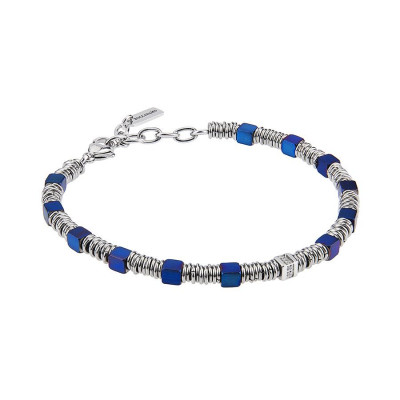 Bracelet with cubes in PVD blue, smooth shirts and zircons