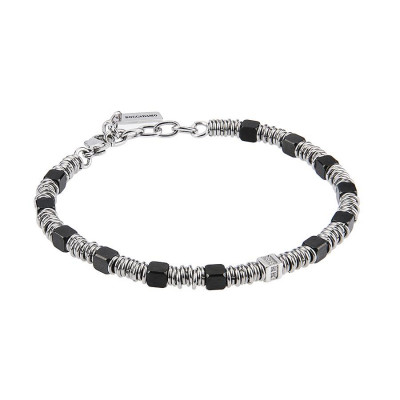 Bracelet with cubes in PVD brown, smooth shirts and zircons