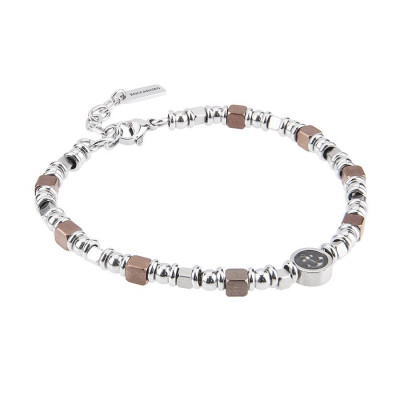 Bracelet with cubes in PVD brown and rodiati and circular central with still